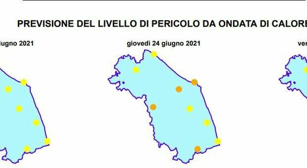 La previsione del livello di pericolo da ondata di calore diffusa dalla Regione Marche