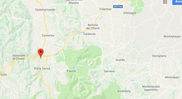 L'epicentro, localizzato dall'Ingv, su Google Maps