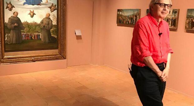 Vittorio Sgarbi ieri alla presentazione della mostra su Perugino