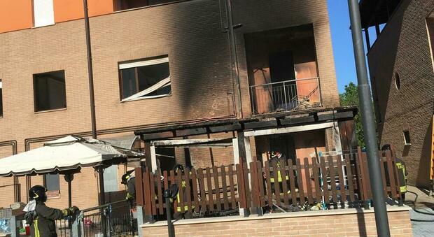 Il primo piano della palazzina andata a fuoco