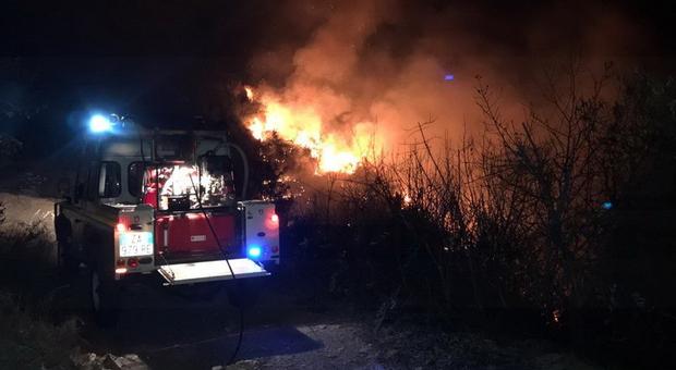 Incendio nei boschi causato da un doppio focolaio: il piromane colpisce ancora