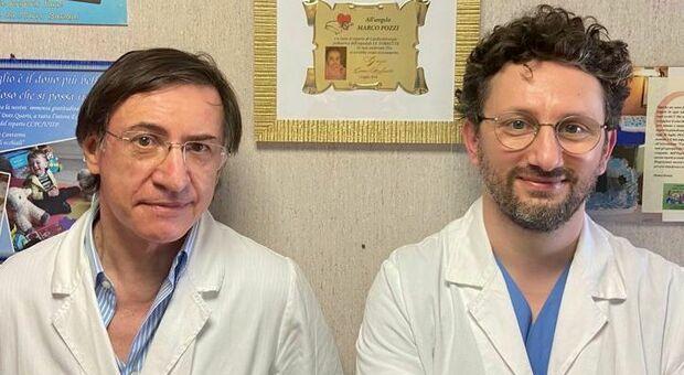 Il professor Marco Pozzi e il dottor Luigi Arcieri del Salesi