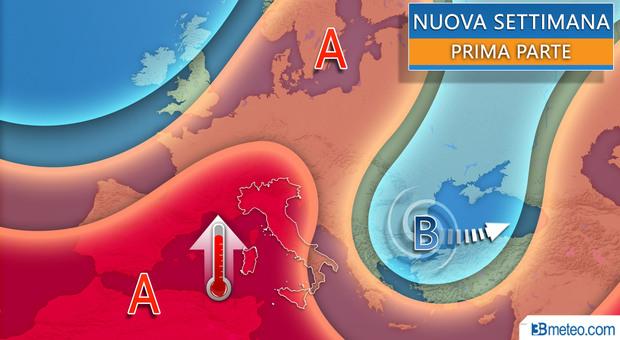 Nel grafico di 3bmeteo.com le previsioni per la prima parte della nuova settimana