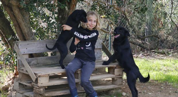 Chiara, la più piccola e assidua volontaria che va al canile con la mamma