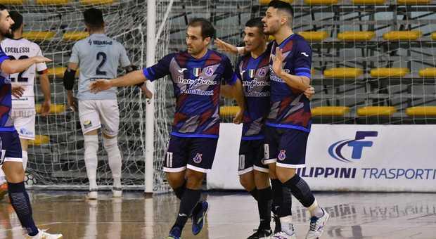 I giocatori dell'Italservice dopo un gol segnato
