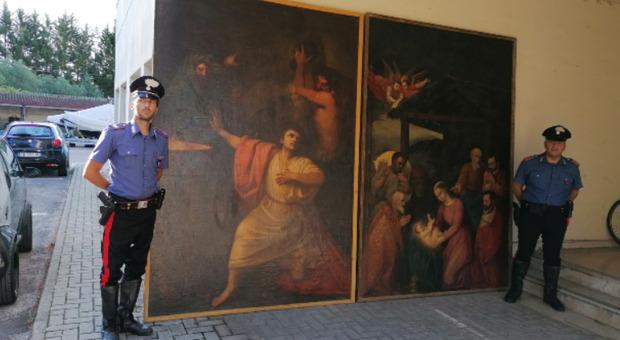 Le opere d'arte recuperate a Penne dai Carabinieri di Pescara