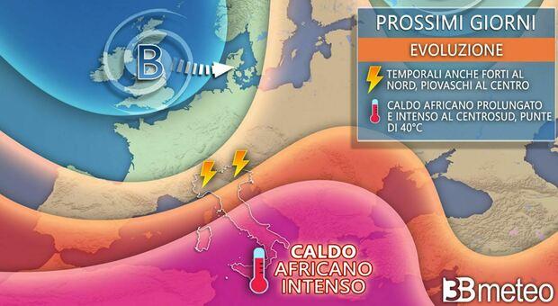 Italia spaccata in due: nubifragi al Nord, forte ondata di caldo e afa al Centro Sud