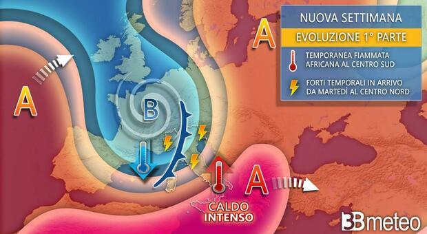 Un altro picco di caldo africano, ma poi cambia tutto con temporali e calo termico. Ecco quando e dove
