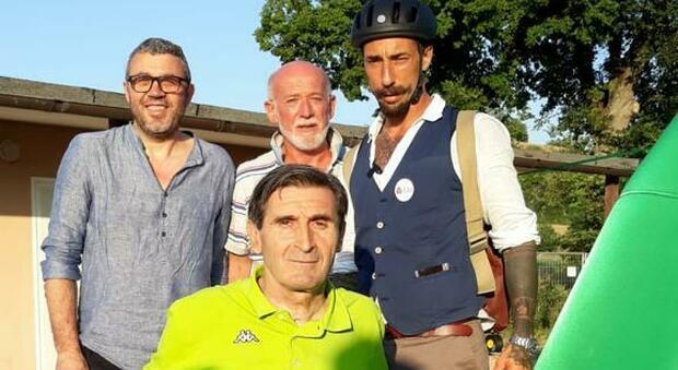 Sandro Manoni con il sindaco Manfredi e Vittorio Brumotti