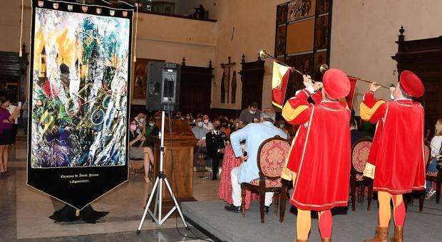 La presentazione del Palio di agosto realizzato dall'artista ascolano Emiliano Albani