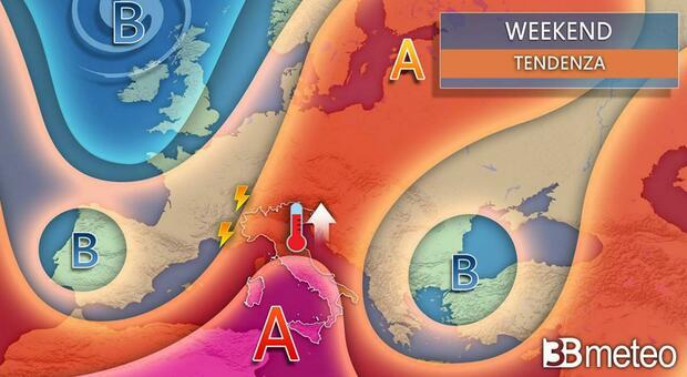 Arriva il caldo africano, con temperature fino a 38 gradi. Ma attenzione ai temporali di calore: improvvisi e violenti. Ecco dove e quando. Grafico di 3bmeteo.com