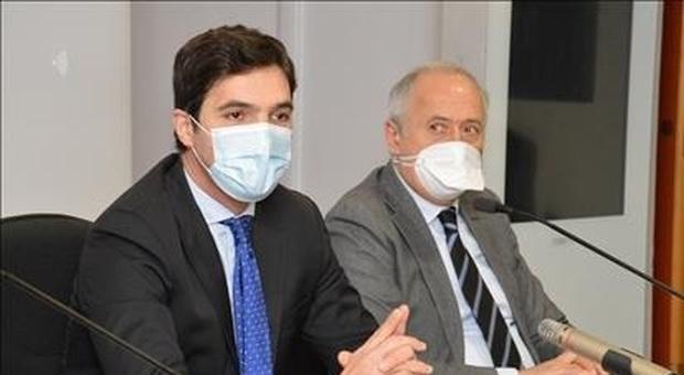 Il presidente della Regione Marche Francesco Acquaroli con l'assessore Filippo Saltamartini