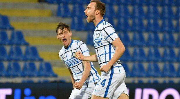 Crotone-Inter 0-2: in gol Eriksen e Hakimi, Conte a un passo dallo scudetto. I calabresi in Serie B