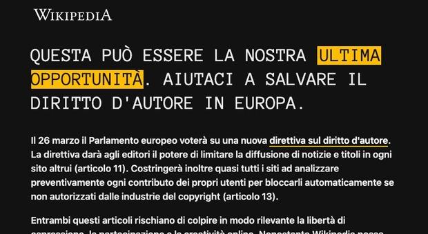 Wikipedia non si apre, oscurata la pagina in italiano: «Colpa di una legge», ecco perché
