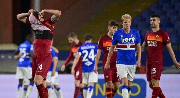 Samp-Roma 2-0: tracollo giallorosso, quarta sconfitta (e un pareggio) in cinque partite