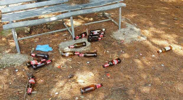 Le bottiglie di birra abbandonate a terra