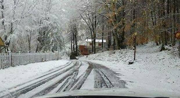 La neve ad Apiro nella zona di Pian dell'Elmo