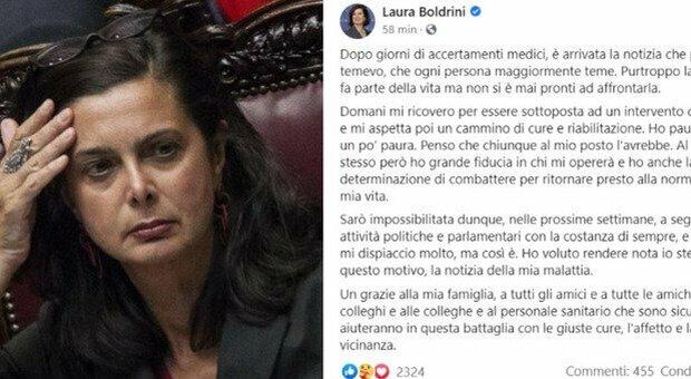 Laura Boldrini ricoverata in ospedale: «Domani sarà operata, ho paura»