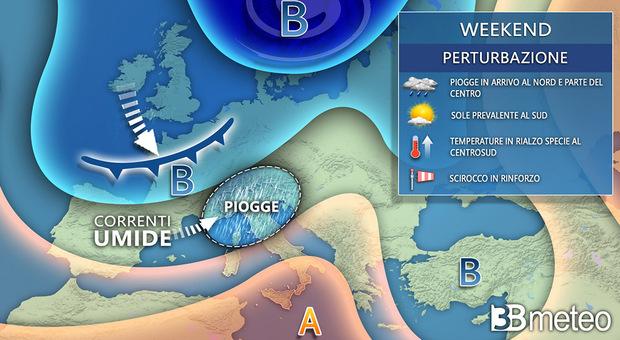 Il grafico con le previsioni di 3bmeteo.com
