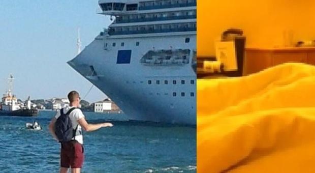 La nave a Venezia e un frame del video a bordo
