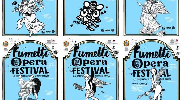 I manifesti realizzati da sei autori per il Fumetti Opera Festival