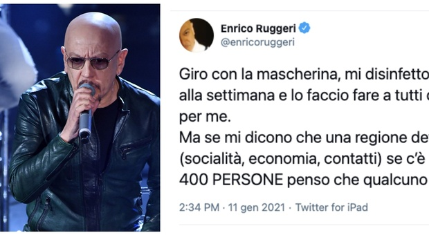 Covid, Enrico Ruggeri: «Fermare tutto per un positivo ogni 400 persone? Qualcuno sta impazzendo»