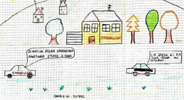 """""""Grazie di tutto"""" è il titolo del disegno del 12enne di Carpegna regalato ai carabinieri"""