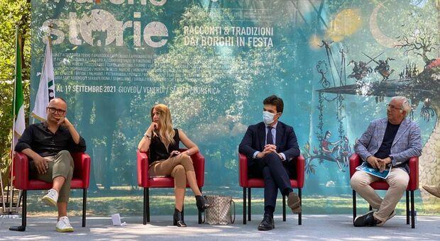 Marchestorie , la presentazione con il presidente Acquaroli e l'assessore Latini