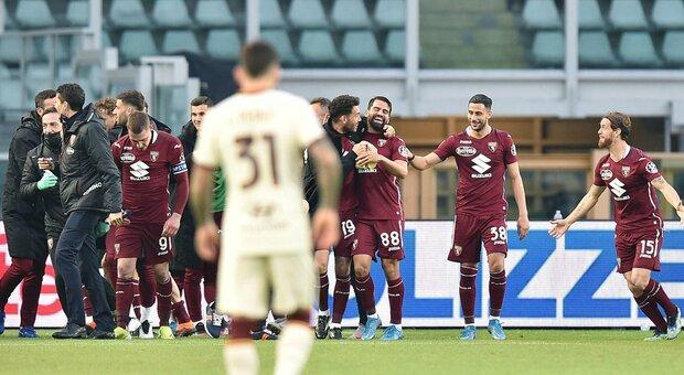 Torino-Roma 3-1: giallorossi in campo per 45'. I granata rimontano e dominano nella ripresa