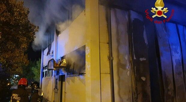 L'intervento dei vigili del fuoco a Servigliano