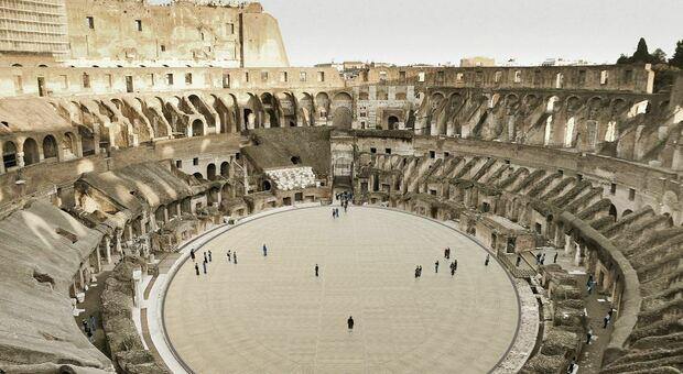 Un rendering della nuova arena del Colosseo