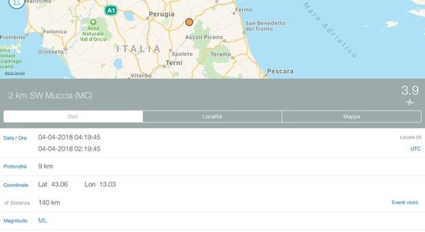 Muccia, una nuova scossa sismica nell'entroterra: la magnitudo è di 3.9