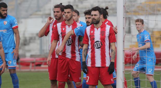 Balestrero, De Santis e Moretti durante una partita del Matelica
