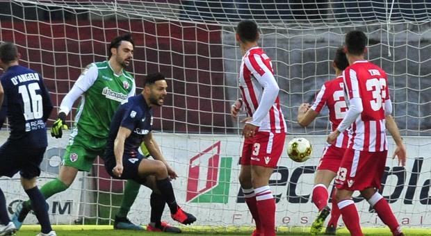Un gol durante Vis Pesaro-Samb del 14 marzo scorso: al Benelli finì 1-3