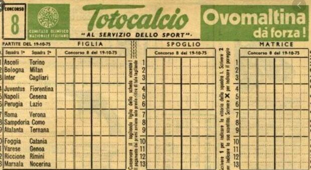Una vecchia schedina del Totocalcio