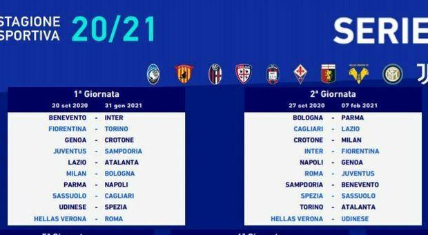Calendario serie A: il derby Lazio Roma il 17 gennaio. Juventus