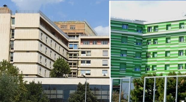 A sinistra l'ospedale Mazzoni di Ascoli Piceno, a destra il Madonna del Soccorso di San Benedetto del Tronto