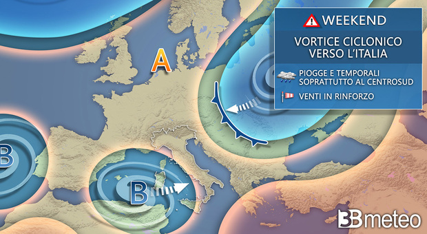 La cartina con le previsioni di 3bmeteo.com