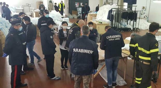Undici lavoratori in nero e disposizioni anti Covid non rispettate: sospesa l'attività di due aziende tessili