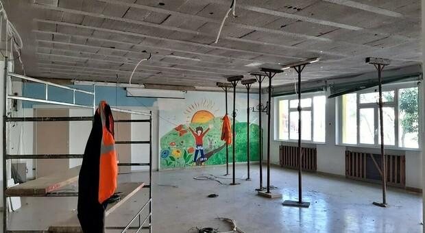 I lavori per la sistemazione della scuola Rodari a Porto Sant'Elpidio