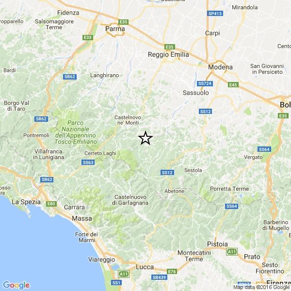 Terremoto: scossa magnitudo 4 nella provincia di Reggio Emilia