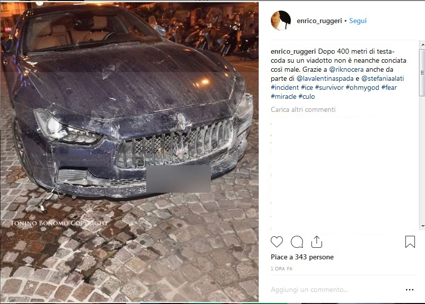 Brutto incidente per Enrico Ruggeri: