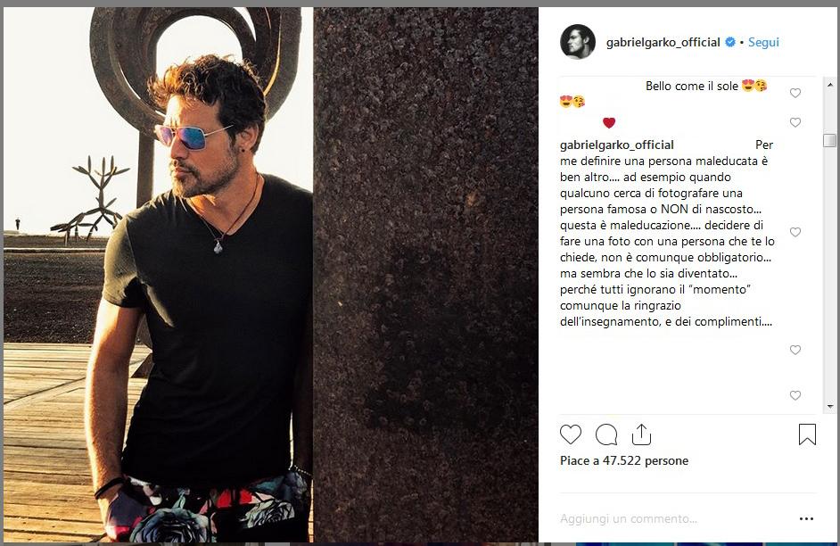 Gabriel Garko sotto attacco per una foto negata: lui risponde così